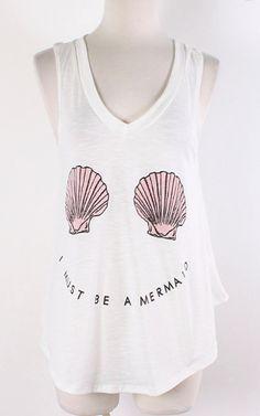 Boho Trendy Beach Mermaid Shells Tumblr Tank Top