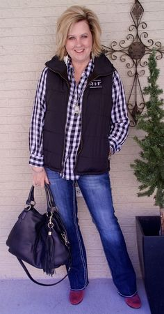 50 IS NOT OLD | A PUFFER JACKET CAN BE STYLISH | Checked Shirt | Bootcut jeans | Fashion over 40 for the everyday woman