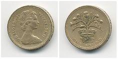 Libra esterlina (1970-em uso) (x) 1 pound/libra (1984, comemorativa parte da série Floral Emblems do Reino Unido) O: efígie da rainha Elizabeth II (rainha desde 1952) em seu segundo retrato, usando a tiara das Garotas da Grã-Bretanha e Irlanda e seu nome/R: a diadema real, um ramo de cardos simbolizando a Escócia e valor.