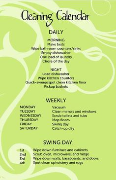 Wish i could follow this...weekly cleaning schedule