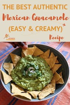 This is the best authentic Mexican guacamole recipe that is creamy and easy to make. Simply combine avocados, onion, cilantro, pepper, lime juice, garlic, and salt for a fresh and irresistible dip. | Authentic Food Quest