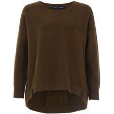 French Connection Clacton Vhari Jumper (€38) ❤ liked on Polyvore featuring tops, sweaters, shirts, jumper, clearance, green, acrylic sweater, leopard print sweater, brown sweater and stitch sweater