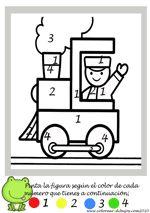 dibujo de Tren infantil para colorear por numeros