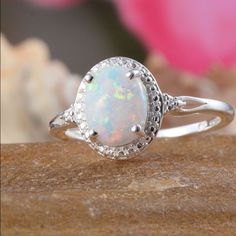 Opal ring White opal ring in Sterling silver size 7. Nickel free. 1.15 cts. Jewelry Rings