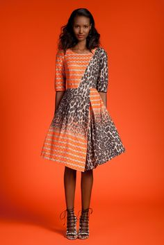 Tracy Reese | Resort 2015 | 18 Orange/white striped and leopard-printed short sleeve midi dress