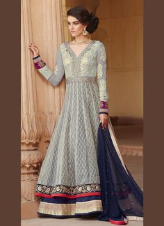 b94d52b1e99a8b Regal grey banarasi jacquard anarkali suit