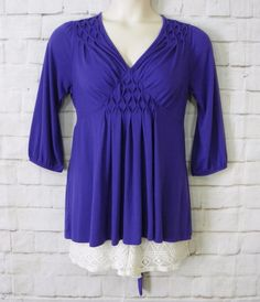 Womens ANA Purple Smocked Detail Empire Waist ¾ Sleeves Knit Top Size Large #ana #KnitTop #Casual