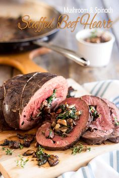 Stuffed Beef Heart   thehealthyfoodie.com  Paleo (of course!), AIP with modifications; great pictures how to prepare a whole heart for cooking.  Recipe contains bacon, onion, mushrooms, garlic, cinnamon, nutmeg and spinach leaves.