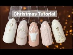 (68) Nude Christmas nail art tutorial | Easy Christmas Nail Art - YouTube