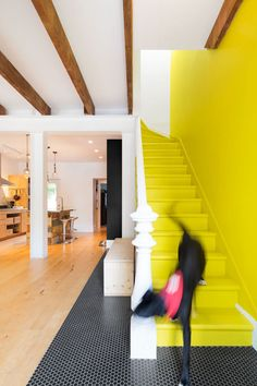An Old Row House in Montreal Gets a Colorful Modern Upgrade by Sarah Akkoush from How to Decorate With Yellow (Without the Smiley-Face Connotations) - Dwell Interior Exterior, Interior Architecture, Yellow Stairs, Escalier Design, Stair Makeover, Painted Stairs, Interior Decorating, Interior Design, Color Interior