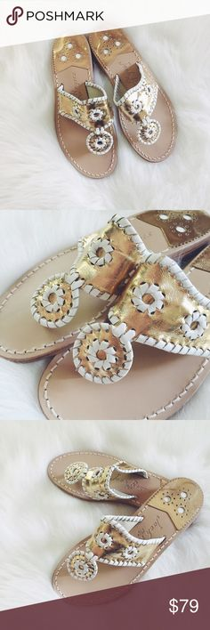 💋Jack Rogers Gold Sandals Absolutely gorgeous sandals from Jack Rogers, gold with white leather, 100% authentic, no box though, never wore them. Size is 6 New without tags or box. PRICE IS FINAL, not taking offers on this.    🎉I. A M. A. S U G G E S T E D. U S E R🎉       📫Shipping the day of or next day📫                    C L O S E T. R U L E S                   •no trading + FINAL PRICE                   •smoke free home Jack Rogers Shoes Sandals