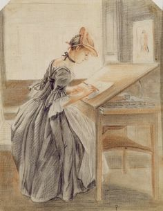 A Lady Copying at a Drawing Table, c.1760-70 (graphite, red and black chalk and stump on paper) by Paul Sandby