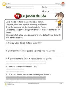 Léo's garden – cycle reading assessment with questionnaire - Modern French Language Lessons, French Language Learning, French Lessons, Foreign Language, French Flashcards, French Worksheets, French Teaching Resources, Teaching French, French Grammar