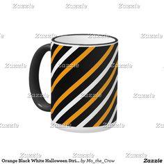 Orange Black White Halloween Stripes Ringer Mug