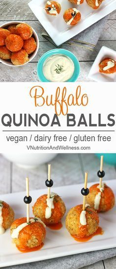 These Buffalo Quinoa balls are a great vegan option to get that hot sauce fix without any meat! Ingredients QUINOA BALLS C . Dairy Free Recipes, Vegan Gluten Free, Vegan Recipes, Snack Recipes, Cooking Recipes, Cake Recipes, Breakfast Recipes, Dessert Recipes, Vegan Party Food