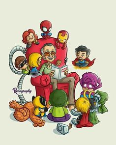 Stan Lee reading stories to marvel charecters. Marvel Dc Comics, Marvel Avengers, Marvel Fan Art, Marvel Jokes, Marvel Funny, Marvel Heroes, Marvel Characters, Groot Avengers, Avengers Cartoon