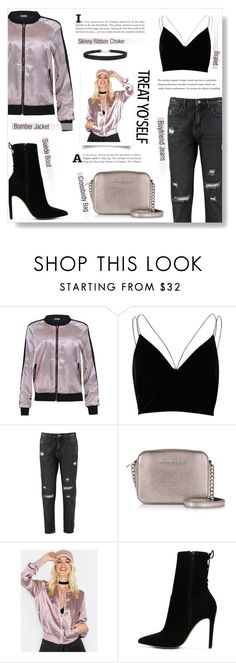 """#treatyoself"" by brccz ❤ liked on Polyvore featuring River Island, Boohoo, Michael Kors, ALDO, Humble Chic, booties and treatyoself"