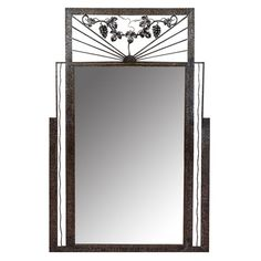Art Deco Iron-Framed Mirror with Grape and Leaf Detailing | nyshowplace.com