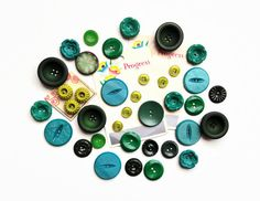 Vintage Button Lot  37 green buttons vintage by yippeevintage