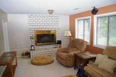 Hottest Photos orange Brick Fireplace Style Would You Paint Your Brick Fireplace a Bold Orange? Family Room Fireplace, Brick Fireplace, Fireplace Mantels, Fireplaces, All Modern, Modern Contemporary, Contemporary Electric Fireplace, Electric Fireplace Tv Stand
