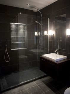 Black tiled bathroom.