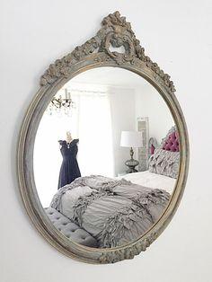 Round Convex Wall Mirror Shabby Chic Nursery Mirror Vintage Gold Pretty Blue Wash Antique Mirror