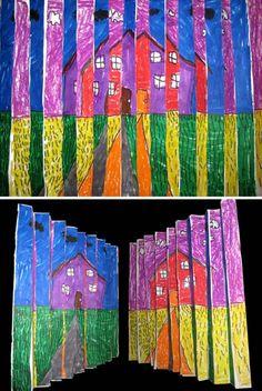 2nd Grade Op-Art Landscape | Flickr - Photo Sharing! Rama Hughes