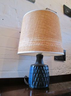 Early 60s Danish small blue ceramic table lamp by Søholm www.archivefurniture.co.uk