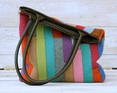 Recycled Sweater Bag - Colorful Jewel  Tones Patchwork Tote with Recycled Brown Leather Handles