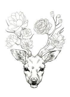 Flower Deer Art Print by minyoplanet Drawing Sketches, Cool Drawings, Deer Drawing, Drawing Ideas, Drawing Drawing, Antler Drawing, Drawing Tips, Tattoo Drawings, Hirsch Tattoo
