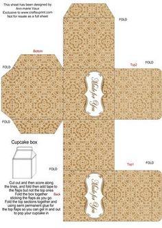 Vintage Tea Lace Single Cupcake Presentation Box on Craftsuprint designed by Ann-marie Vaux -