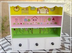 Clearly this version is girly, but I know my little men would LOVE LOVE LOVE a version of this for boys! A pet store with areas for each kind of animal or something! Or different parking backdrops for hot wheels cars! So stinkin' cute!