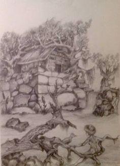 Técnica utilizada, grafite sobre papel canson, Tema rústico, estudo para futuros trabalhos em tela.