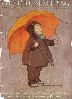 "April 1924 Good Housekeeping Magazine Cover ~ ""Child with Orange Umbrella"" Illustration by Jessica Willcox Smith Prominent American Illustrator . Umbrella Art, Under My Umbrella, Vintage Magazines, Vintage Postcards, Vintage Ephemera, Cover Art, Jessie Willcox Smith, Art Vintage, Magazine Art"