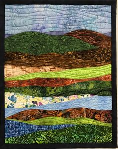 Landscapes Quilts Gallery - Art Quilts by Sharon Landscape Art Quilts, Abstract Landscape, Landscape Design, Abstract Art, Applique Wall Hanging, Quilted Wall Hangings, Patchwork Quilt Patterns, Thread Painting, Traditional Landscape