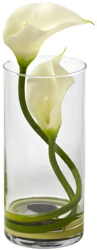 Nearly Natural Double Calla Lily in Glass Cylinder
