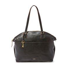 Fossil Julia Black Leather/Cotton Interior Zipper Closure Tote & Shopper #Doris_Daily_Deals #Bonanza