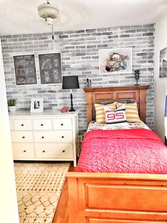 I started brainstorming ideas for Cole's room long before we even found our house. In the old house,… Bedroom Themes, Kids Bedroom, Disney Cars Room, Car Themed Rooms, Car Themes, Lightning Mcqueen, Boy Room, Bro, New Homes