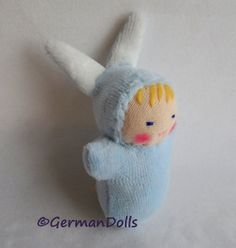 Blue Bunny Pocket Doll