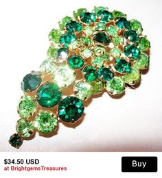 "Designer Rhinestone Brooch Pin 2 Tone Lime & Emerald Green Gold Metal BIG 2 3/4"" Vintage"