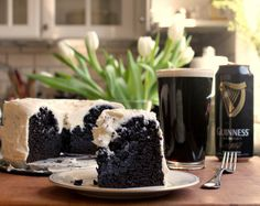 Chocolate Guinness Cake- becky brushed the cake with extra Guinness before she iced it! super yummy right up there with moms chocolate truffle cake Yummy Treats, Delicious Desserts, Sweet Treats, Dessert Recipes, Yummy Food, Chocolate Guinness Cake, Chocolate Cake, Desserts To Make, Eat Dessert First