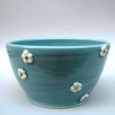 Carved Cherry Blossom Bowl in Robin's Egg by alinahayesceramics
