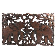 Jubilant Thai Elephant Hand Carved Teak Wood Wall Art (Thailand) | Overstock.com Shopping - Big Discounts on Statues & Sculptures