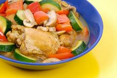 Chicken Stew With Mushrooms And Peppers  http://www.cdkitchen.com/recipes/recs/306/Chicken-Stew-With-Mushrooms-An130671.shtml