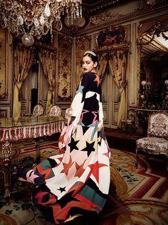 Cindy Kimberly by Alex Bramall for Vanity Fair Spain January 2017 -  Adolfo Dominguez dress with Elie Saab cape