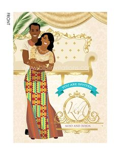 Medofo Ghanaian Traditional Wedding Invitation - Home Page Ghana Traditional Wedding, Wedding Events, Wedding Day, Wedding Things, Wedding Dress Cost, Wedding Illustration, Traditional Wedding Invitations, Rustic Wedding Decorations, Engagement Invitations