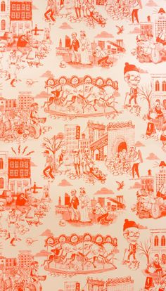 Flavor Paper Dia de Dumbo wallpaper in Hot Coral - Brooklynified Dia de Los Muertos wallpaper, complete with bike-riding and stroller-pushing skeletons hanging out in Dumbo!