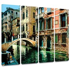 'Venice Canal' by George Zucconi 4 Piece Photographic Print Gallery-Wrapped on Canvas Set