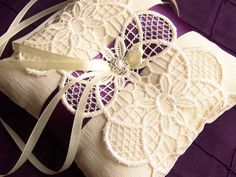 Ring pillow Ivory Ring Pillow Wedding Lace Ring by SophieAtelier, $40.00