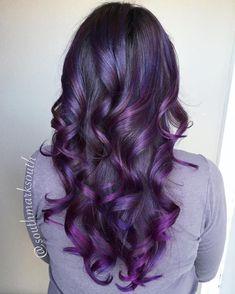20 Tiger Eye Hair Ideas to Hold Onto - Curled Black With Purple Balayage Hair - Grey Balayage, Balayage Hair Purple, Dark Purple Hair, Hair Color Purple, Blue Hair, Pink Hair, Pastel Hair, Gray Hair, Pink Purple